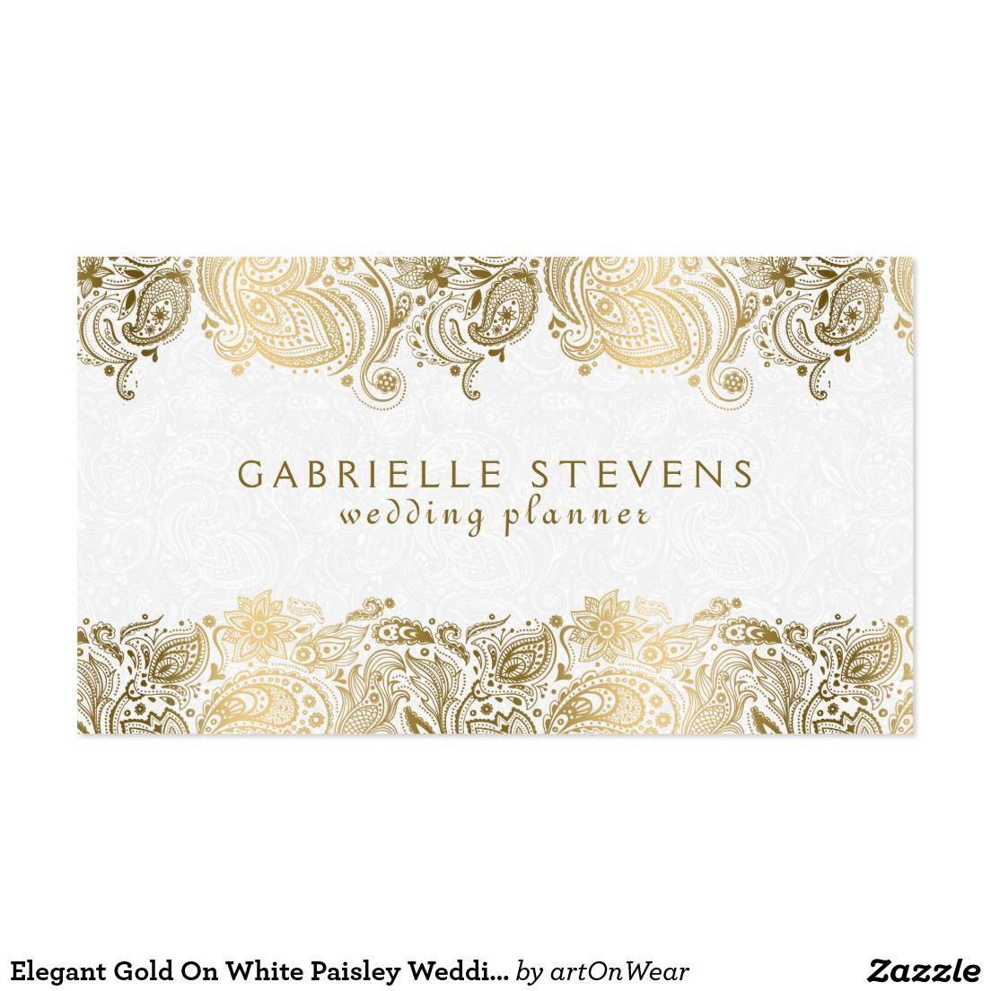 Elegant Gold On White Paisley Wedding Planner Business Card ...