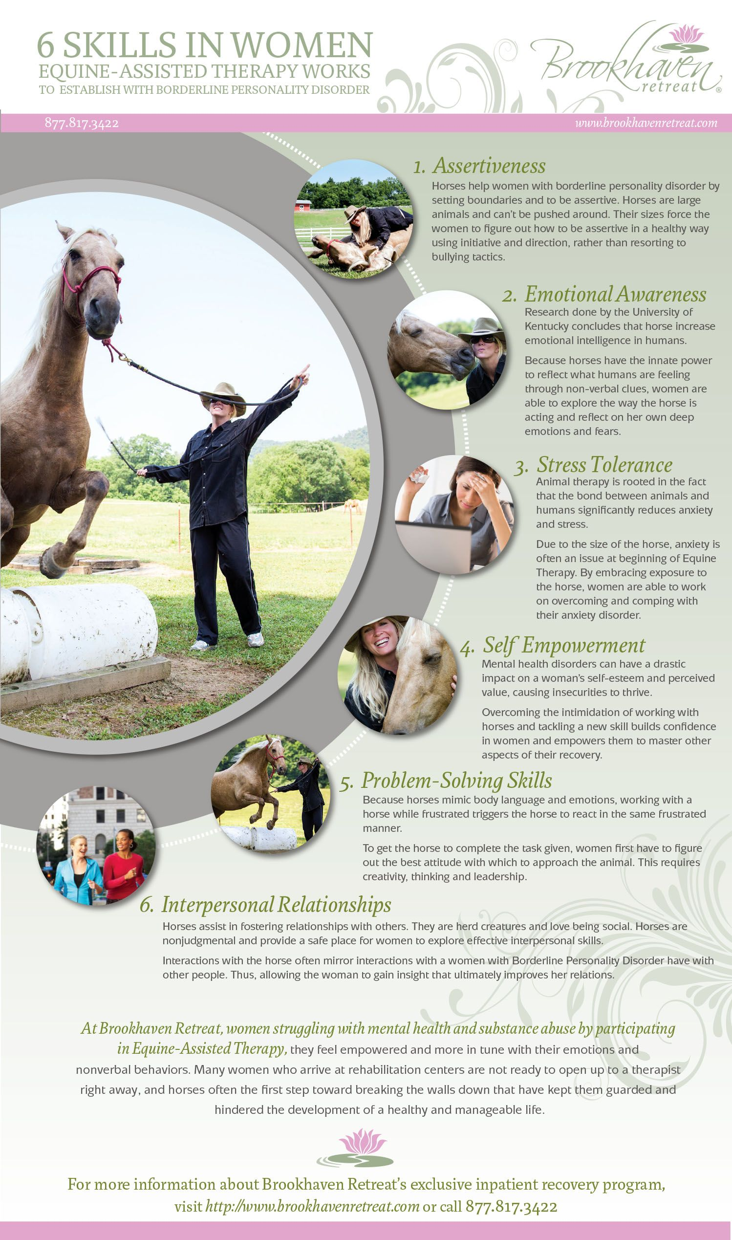 6 Skills Equine Assisted Therapy Works To Establish In Women With Borderline Personality Disorder Http Www Womensinpa Therapy Animals Horse Therapy Equines