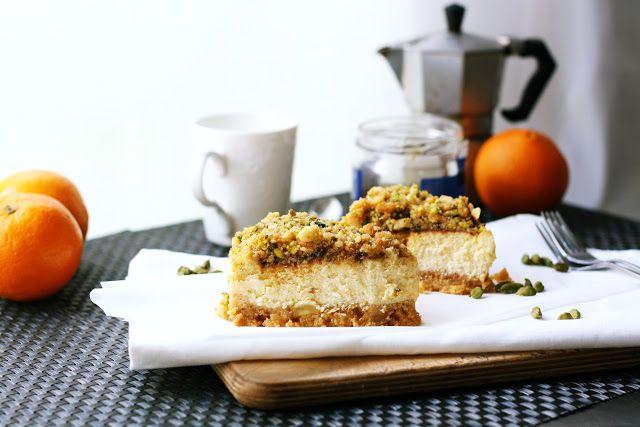 JosieLee: Pistachio Cheesecake with Cardamom-Orange Glaze