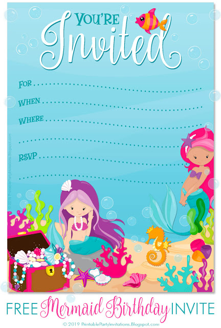 Free Printable Mermaid Birthday Party Invitations Free Printable Party Invitations Mermaid Birthday Party Invitations Mermaid Invitations