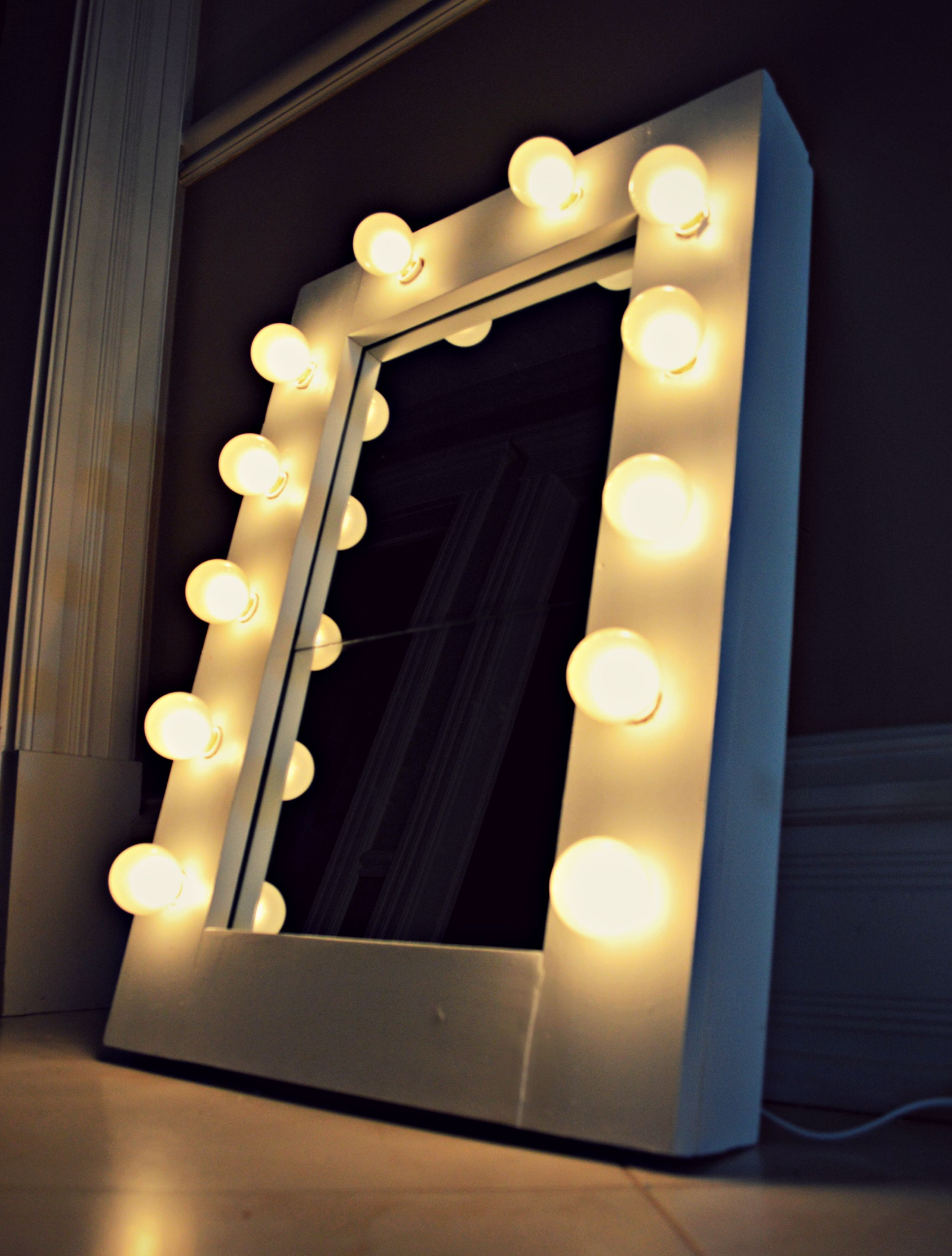 DIY Vanity Mirror  Under $100. Materials: Pine Planks, White Paint (spray  Paint, Wall Paint, Or Acrylic), Lacquer Finish Paint, String Of Globe  Lights ... Home Design Ideas