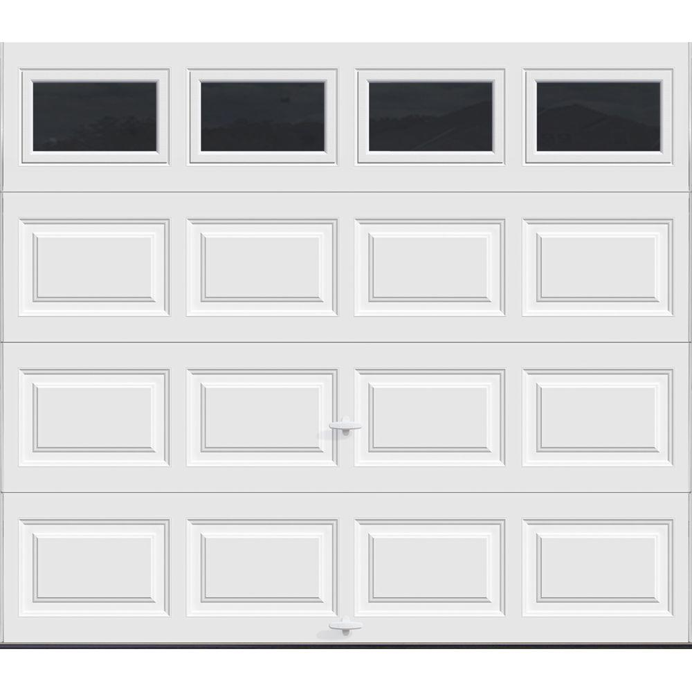 Clopay Classic Collection 8 Ft X 7 Ft 12 9 R Value Intellicore Insulated White Garage Door With Plain Windows Hdp13 Sw Plain The Home Depot Garage Doors Garage Door Windows White Garage Doors