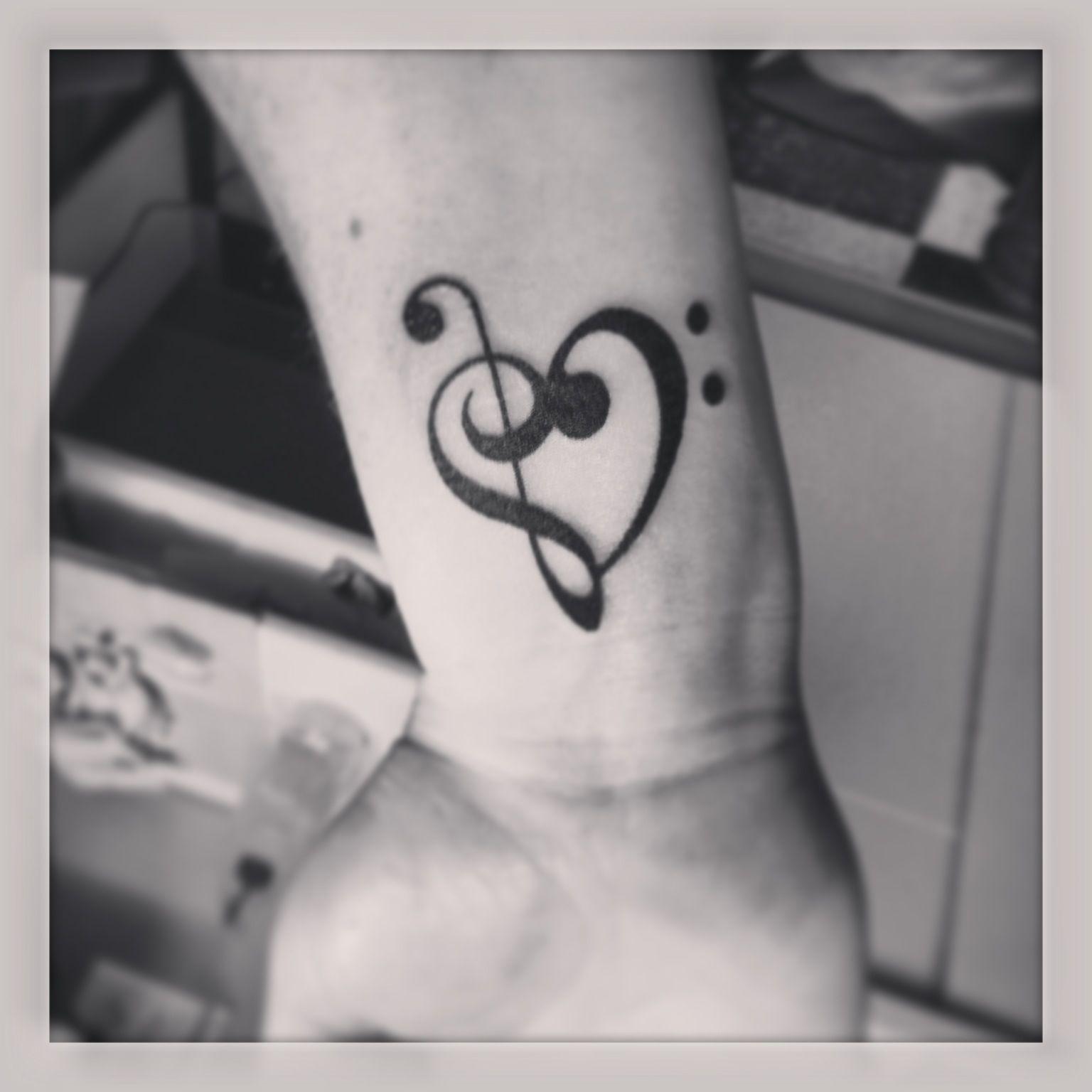 Bass clef heart tattoo heart tattoo tattoos clef heart