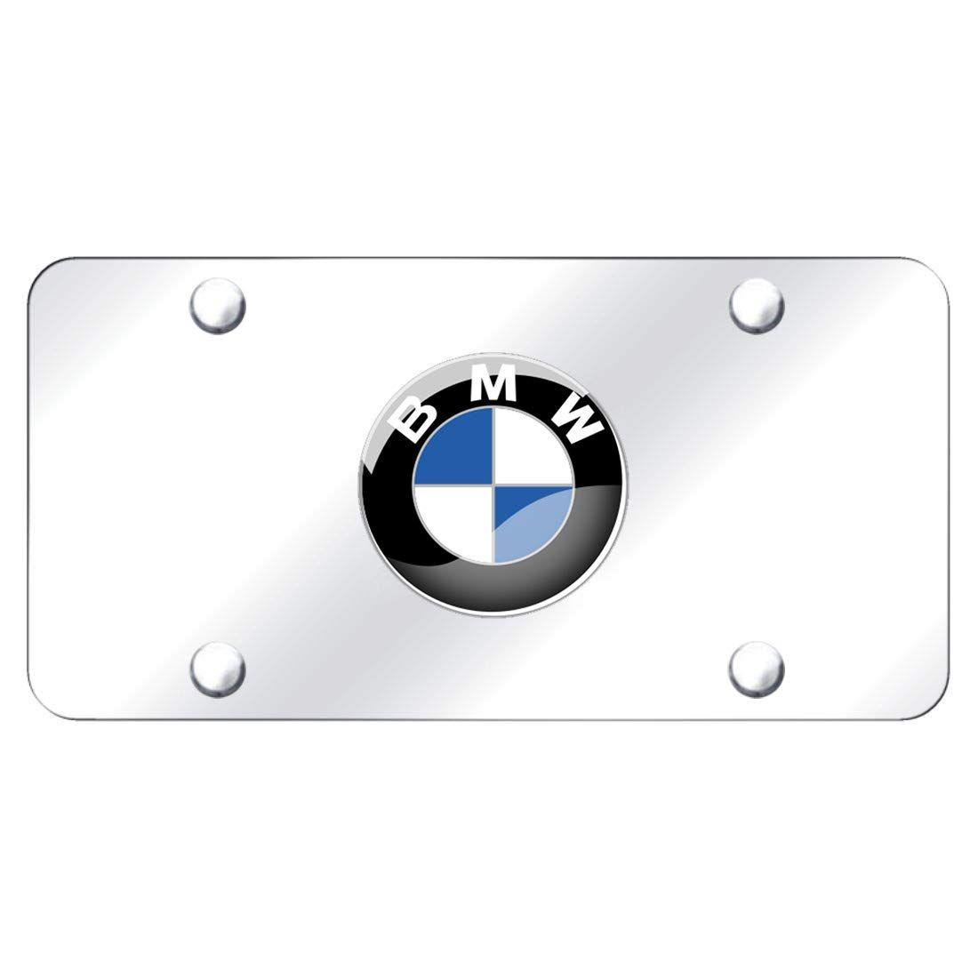 Silver 3D Stainless Steel BMW Emblem License Plate Frame