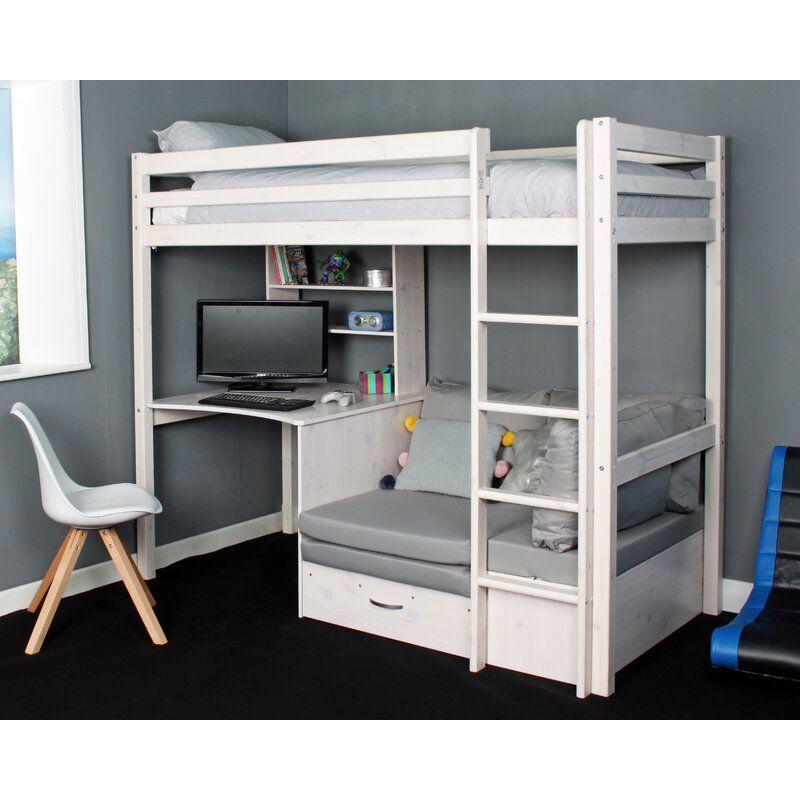 Cutler European Single High Sleeper Loft Bed With Shelf And Desk