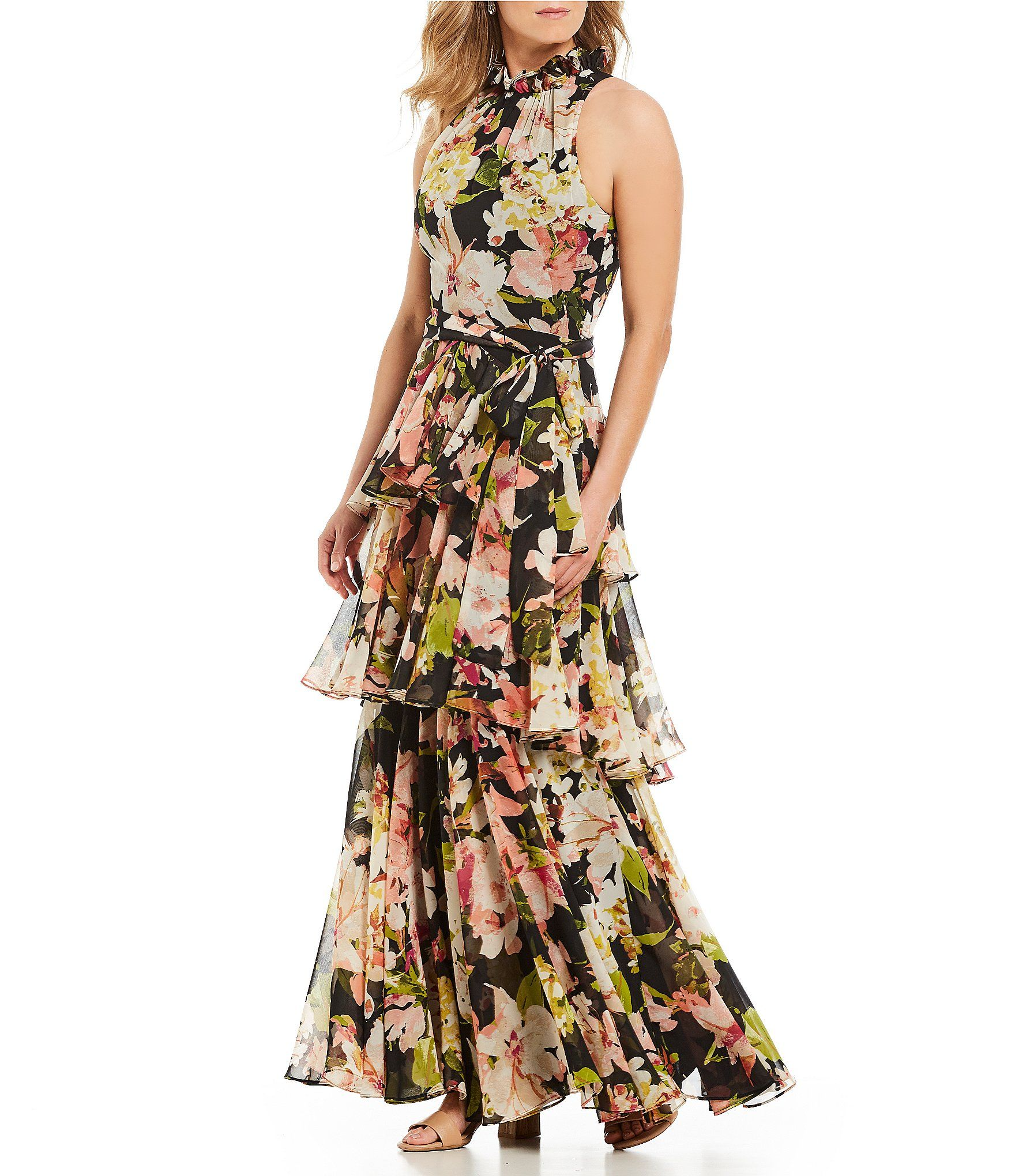 Shop For Alex Marie Brooke Halter Neck Ruffle Tiered Floral Print Gown At Dillards Com Visit Dill Floral Print Gowns Women Wedding Guest Dresses Printed Gowns [ 2040 x 1760 Pixel ]
