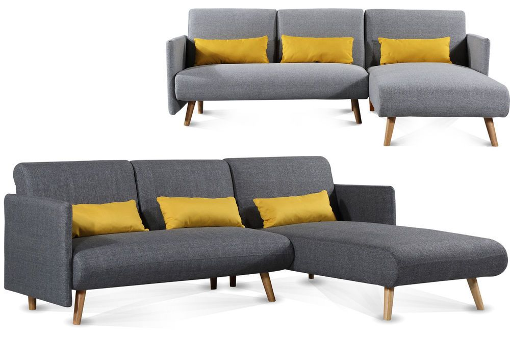 Amazing Details About L Shaped Corner Chaise Sofa Grey Charcoal Alphanode Cool Chair Designs And Ideas Alphanodeonline