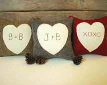 Valentine Pillow, Personalized Heart Pillow, Valentines Day Decor, Rustic Heart Pillow, Red, Gray, Brown Pillow, Six Inch Square Pillow