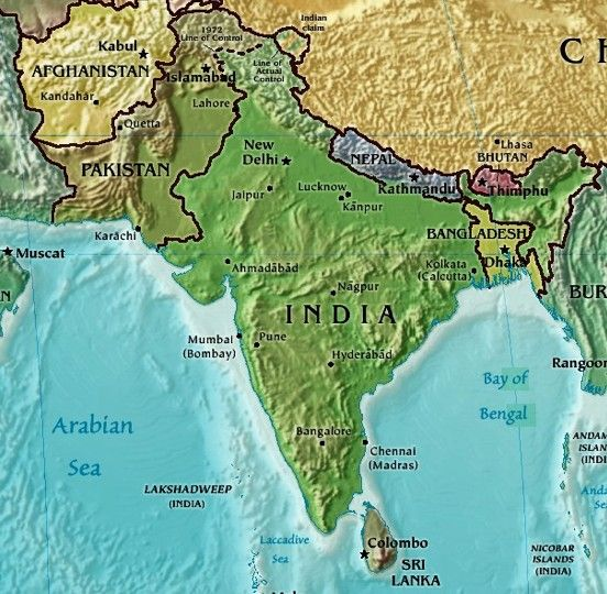 India Physical Map aLL OVer tHe mAp Pinterest Asian continent