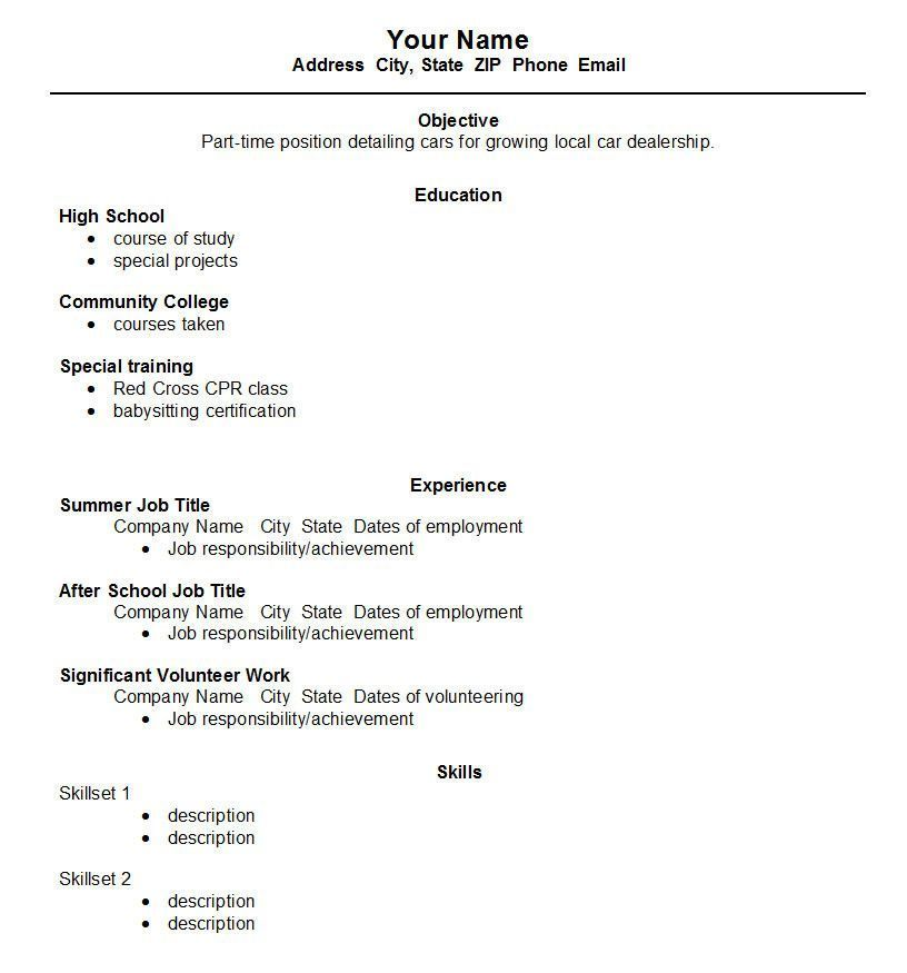 Resume For High School Student First Job Top High School Student