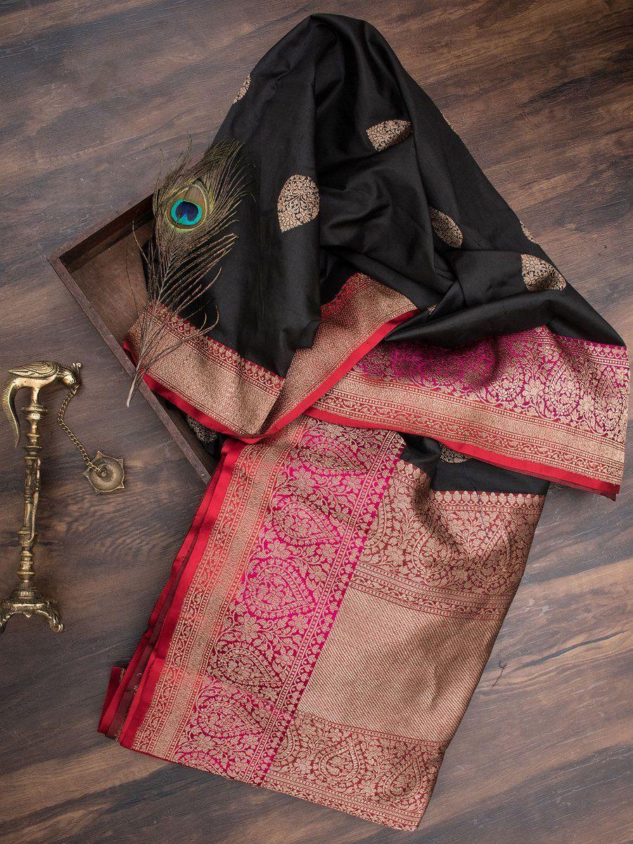 8536fefcd Black Color Pure Katan Silk Banarasi Saree with Zari Booti across the body  and Contrast Zari