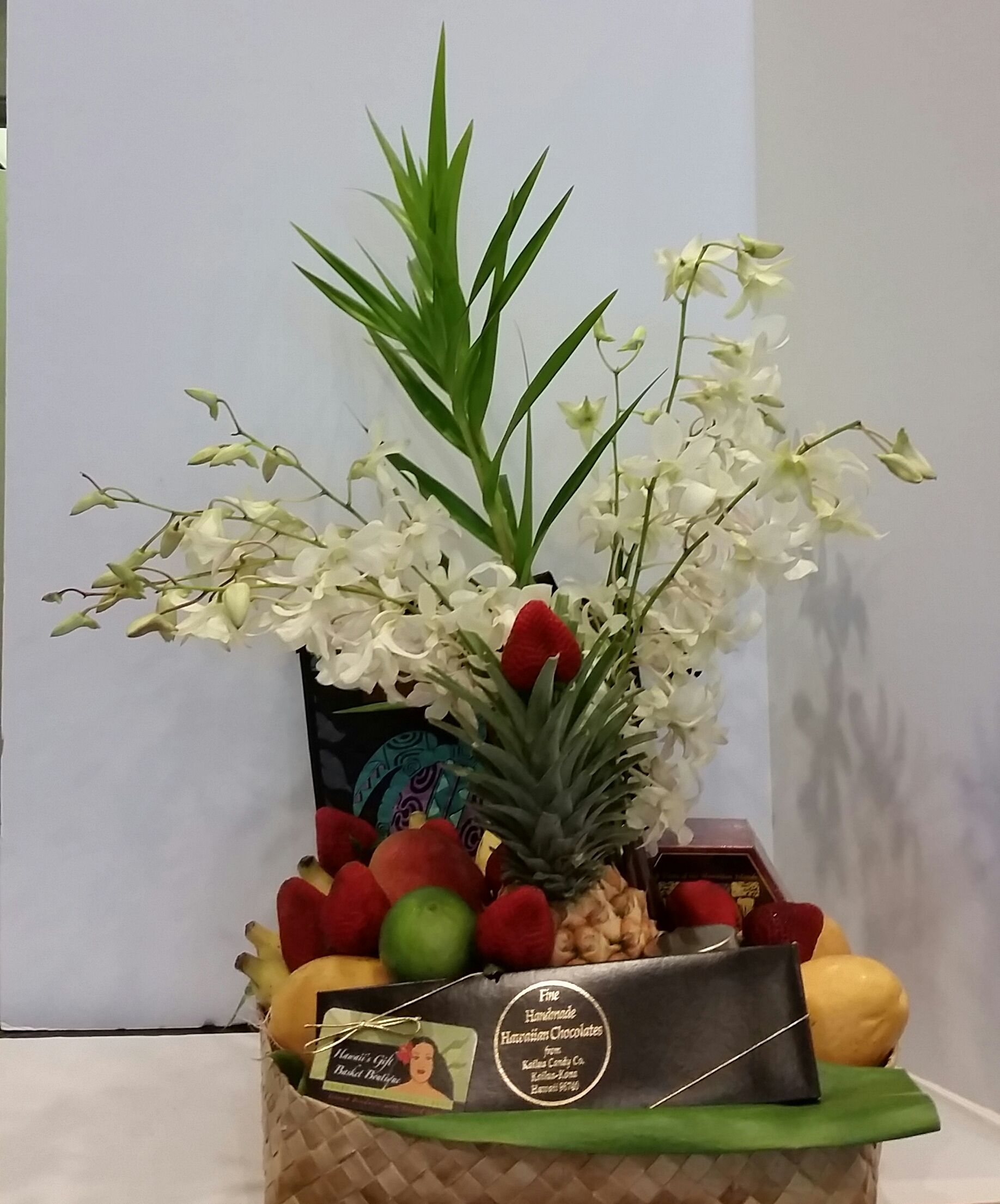 Hawaiian style fruit basket customized with chocolate