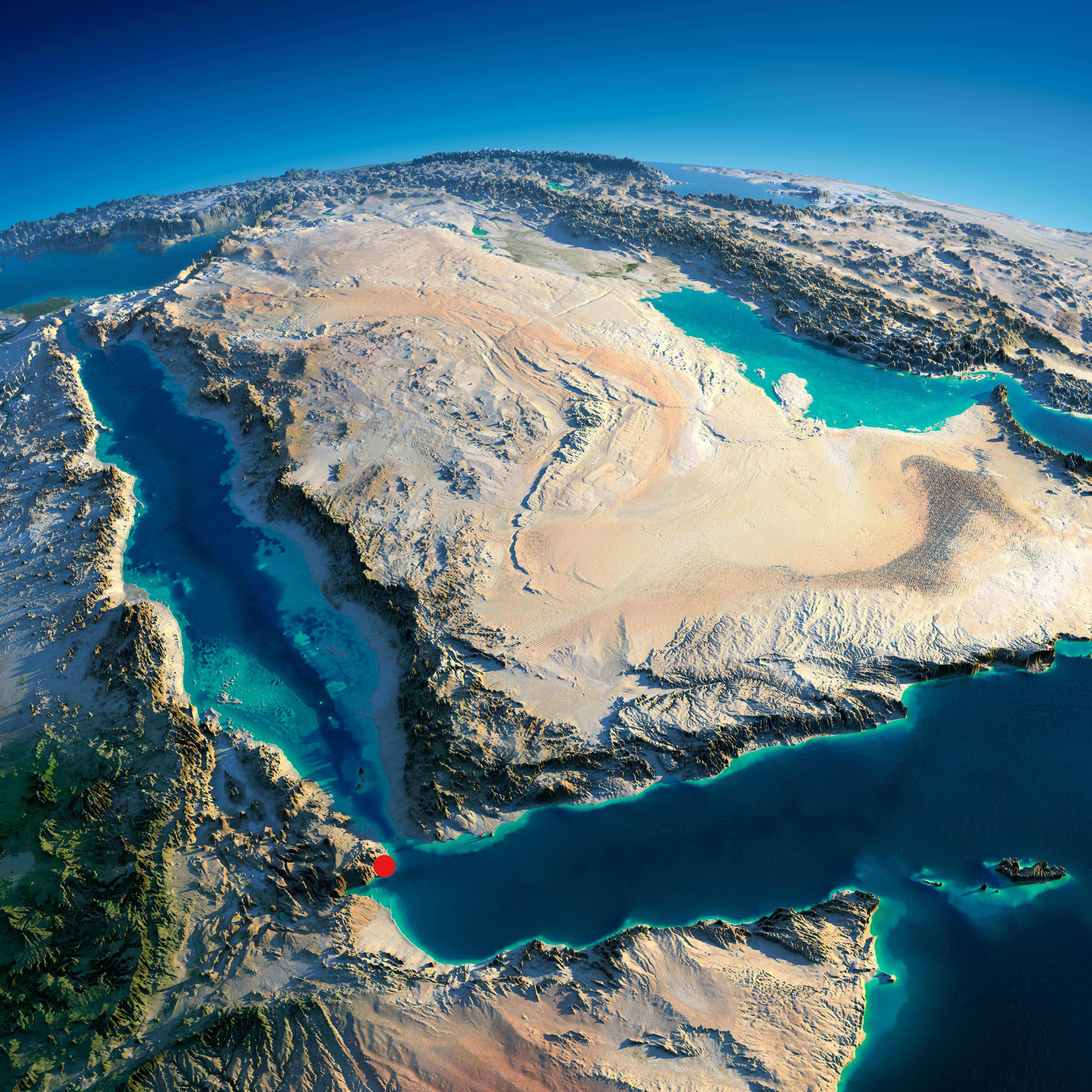 Exaggerated Relief Map Of The Arabian Peninsula With