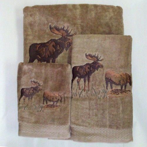 Moose Towels Embroidered Moose Towel Set Brown Moose Decor Deer Antler Bathroom Decor Antler Bathroom Decor
