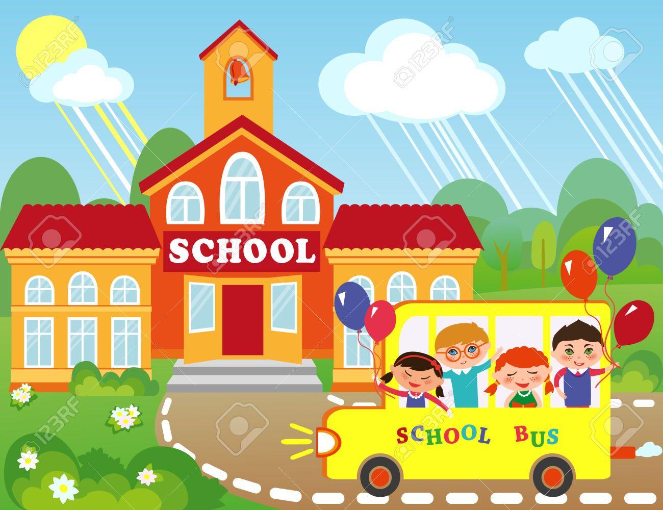 46372908 ilustraci n del edificio de la escuela de dibujos for A que zona escolar pertenece mi escuela