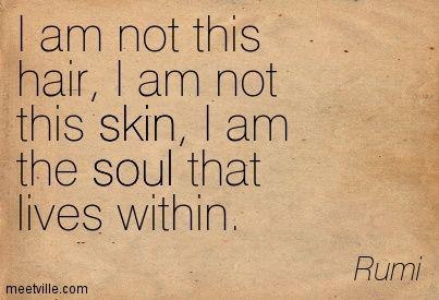 'I am Not this Hair, I am Not this Skin, I AM the Soul