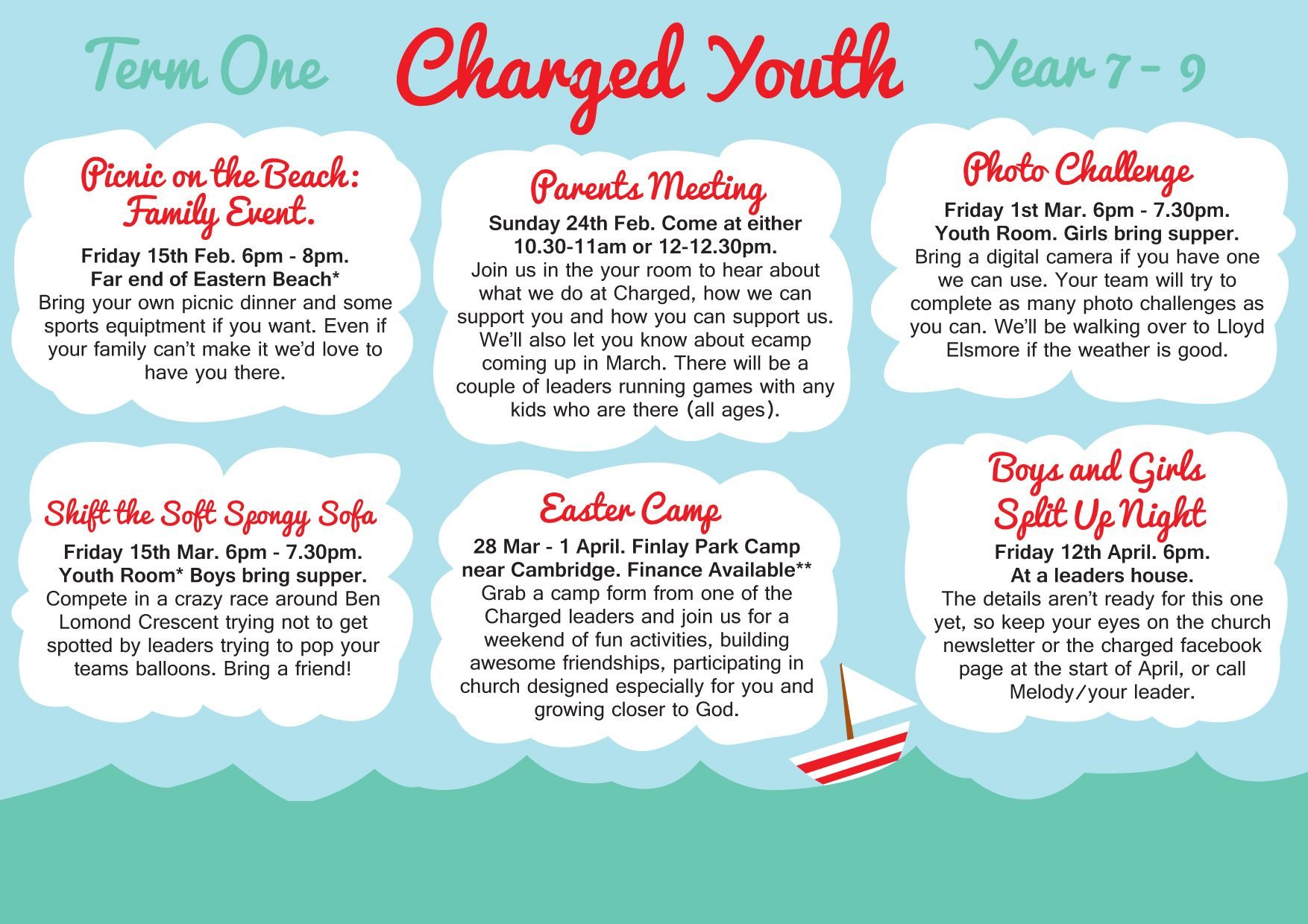 Term Planner / Calendar. Fun Youth Group Events