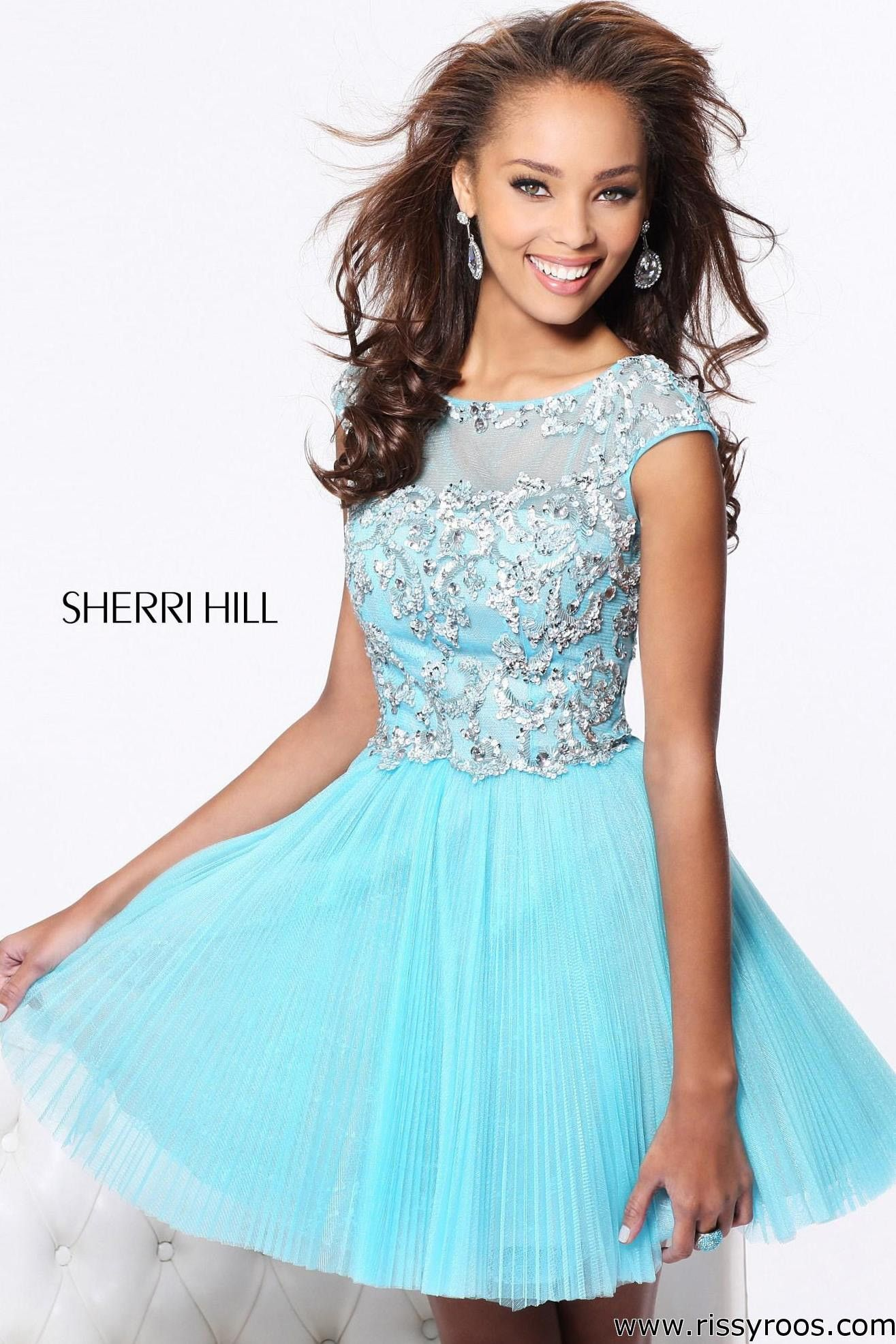 A Line Appliqued Dress by Sherri Hill
