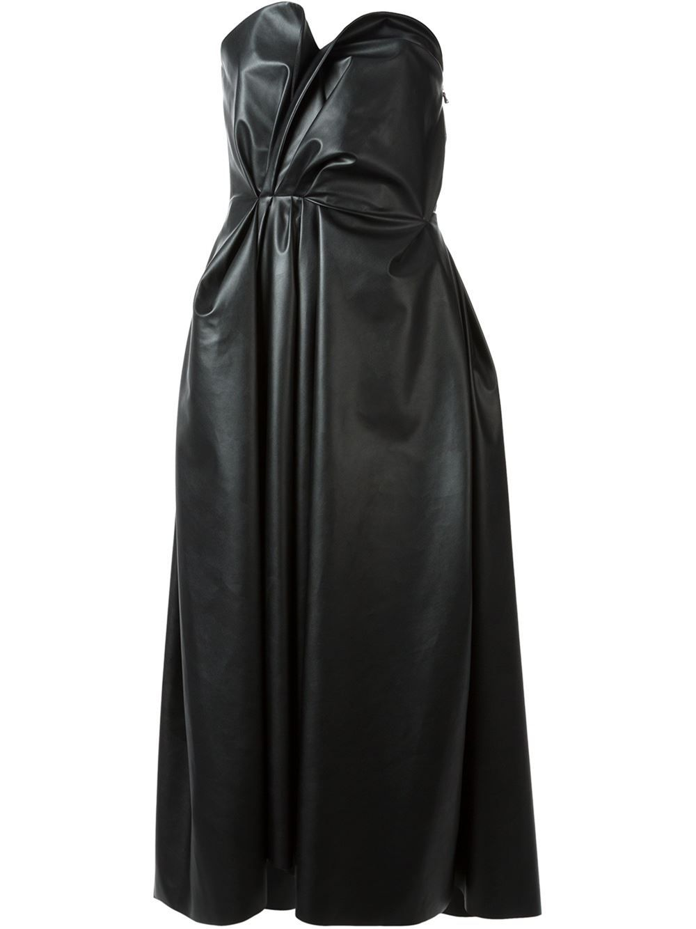 Lanvin Gathered Faux Leather Corseted Dress Dress - Bernard - Farfetch.com