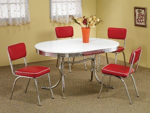Coaster 5 Piece Cleveland Oval 50 S Retro Style Dining Room Set By