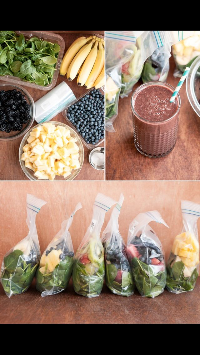 Put all the vegetables and fruit that you plan to use for your smoothie in a bag for the next 3 days so you don't stress about it later