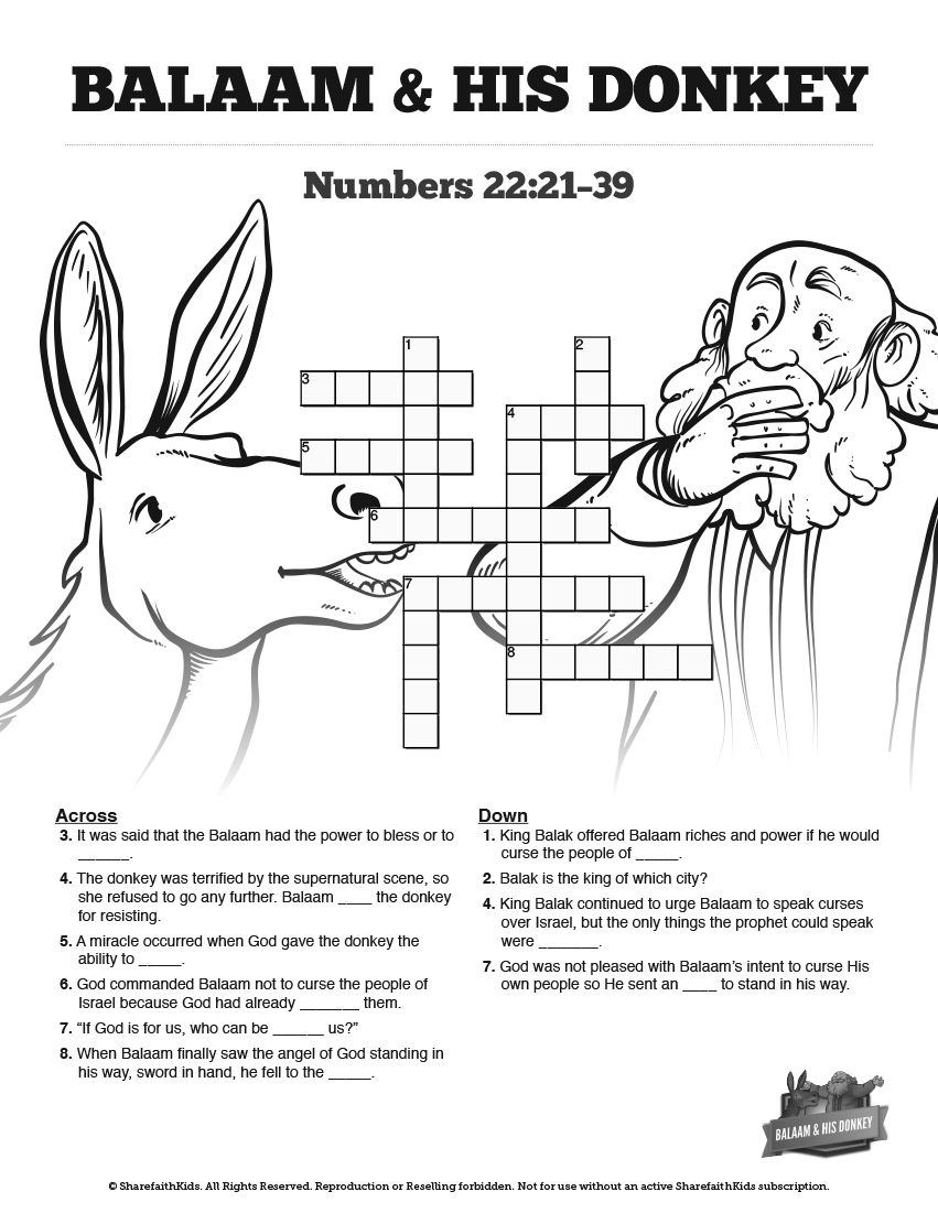 Numbers 22 Balaam S Donkey Sunday School Crossword Puzzles Youth