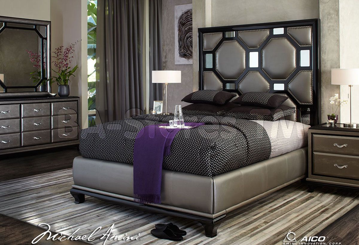 Michael Amini Black Onyx Anium Bedroom Set After Eight Collection