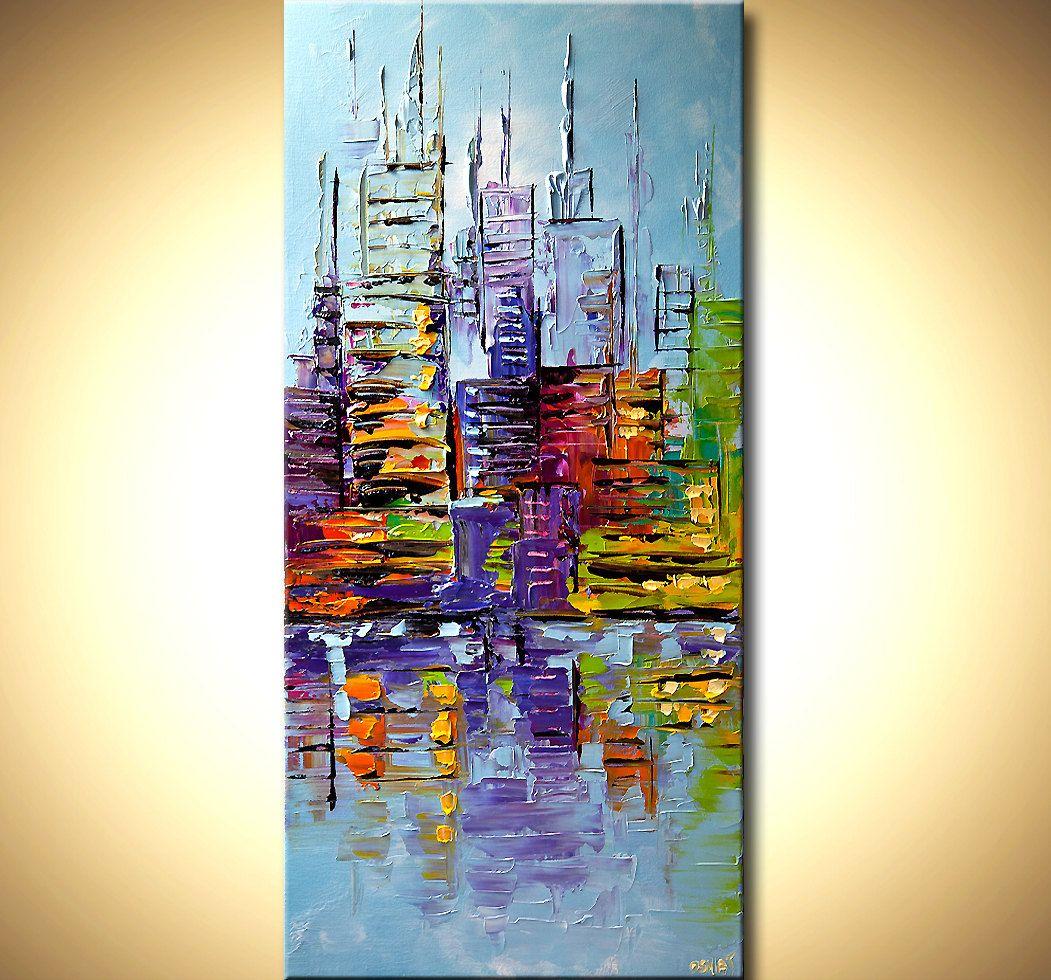 Modern Palette Knife Abstract City Painting Nyc Art York Skyline Original Contemporary