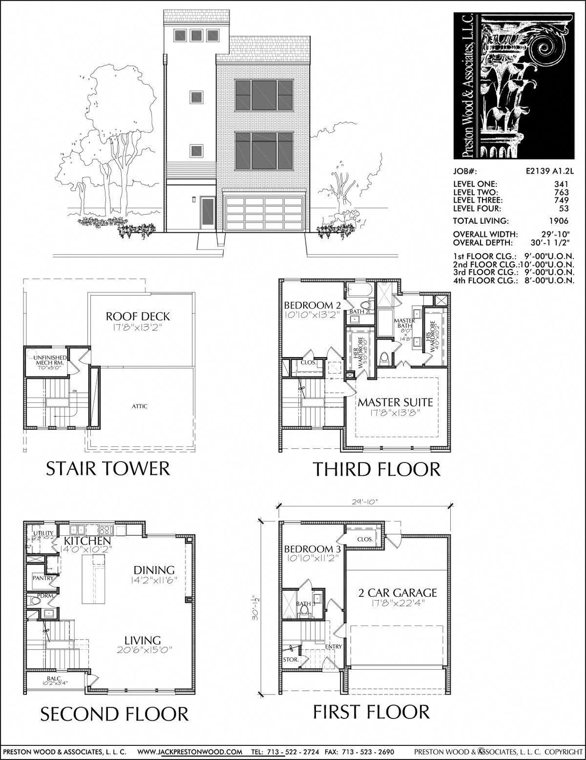 This Townhome Plan Has 1906 Square Ft Of Living Space This Townhouse Plan Design Has A Width Of 29 10 And A Depth House Floor Plans Floor Plans How To Plan
