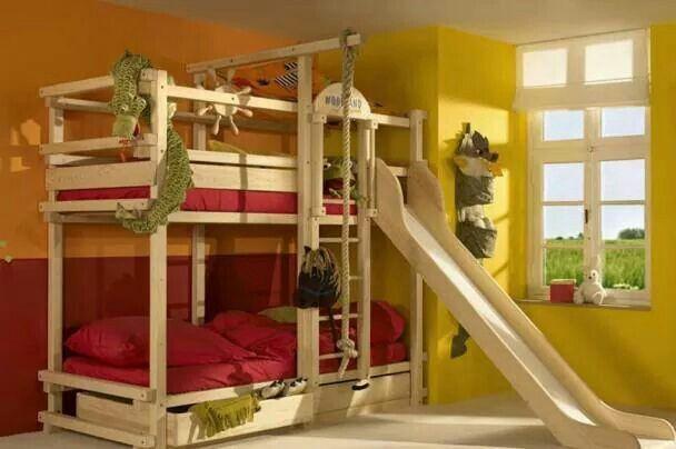 Litera con resbaladilla ideas para casa ideal en 2019 for Literas de madera para ninos