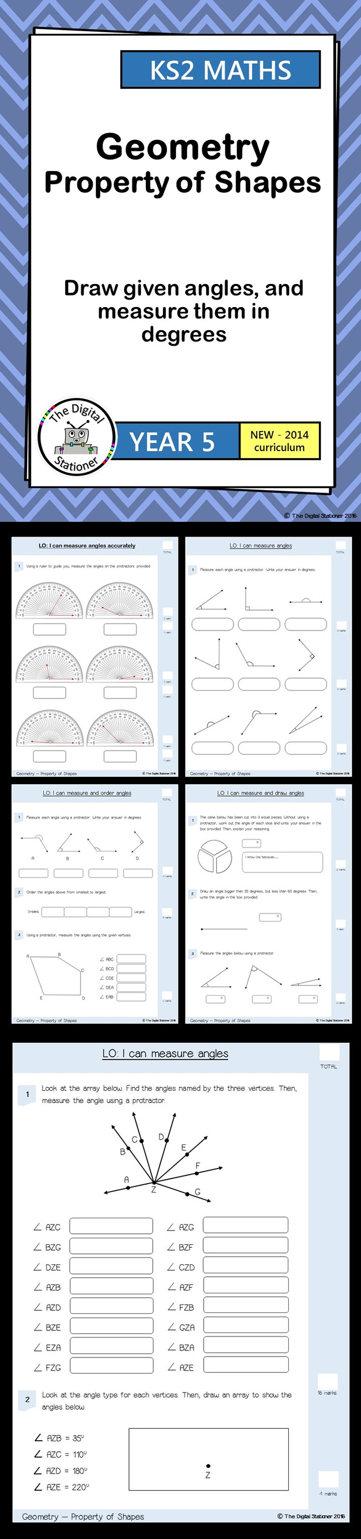 Year 5 Draw and measure angles Geometry Property of