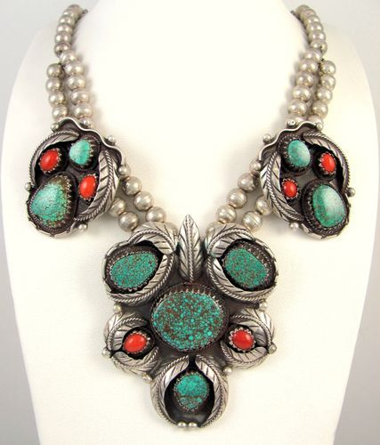 Navajo Sterling Silver Red Mountain Turquoise & Coral Necklace