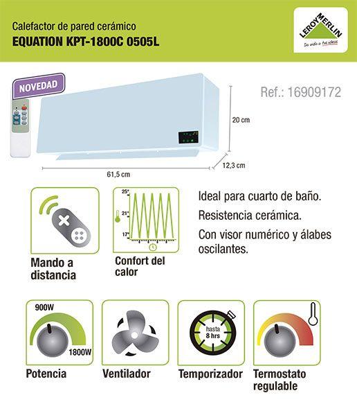 Calefactor Bano Leroy Merlin.Calefactor De Pared Ceramico Con Termostato Ajustable Y Con