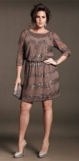 Adrianna Papell Beaded Drop Waist Dress Taupe And Tan