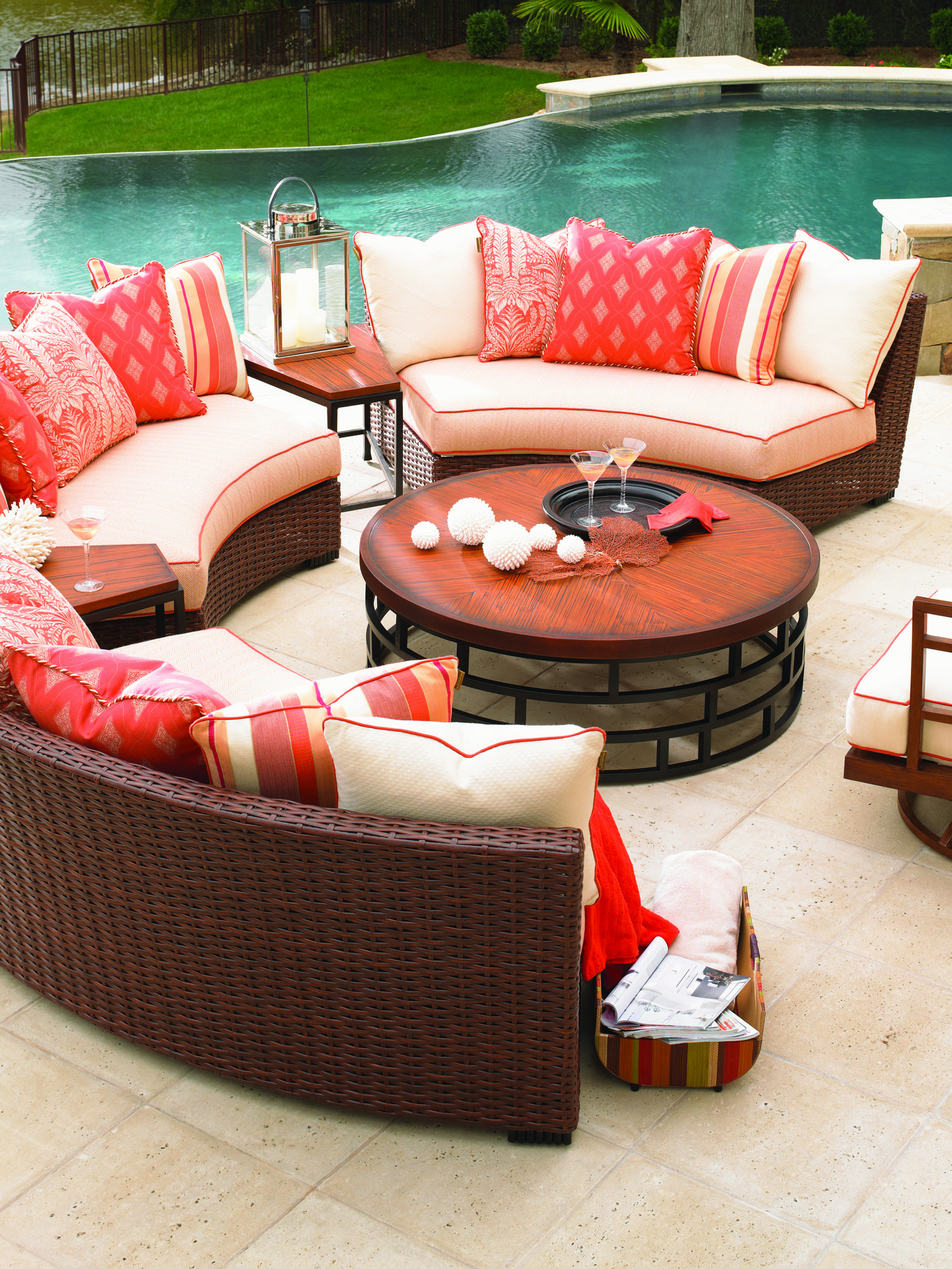 hot selling sectionals for patio ideas with orange accent outdoor
