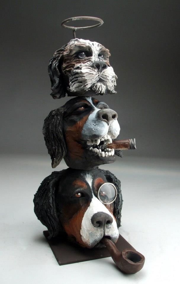 Artodyssey Mitchell Grafton Sculpture art, Dog artwork
