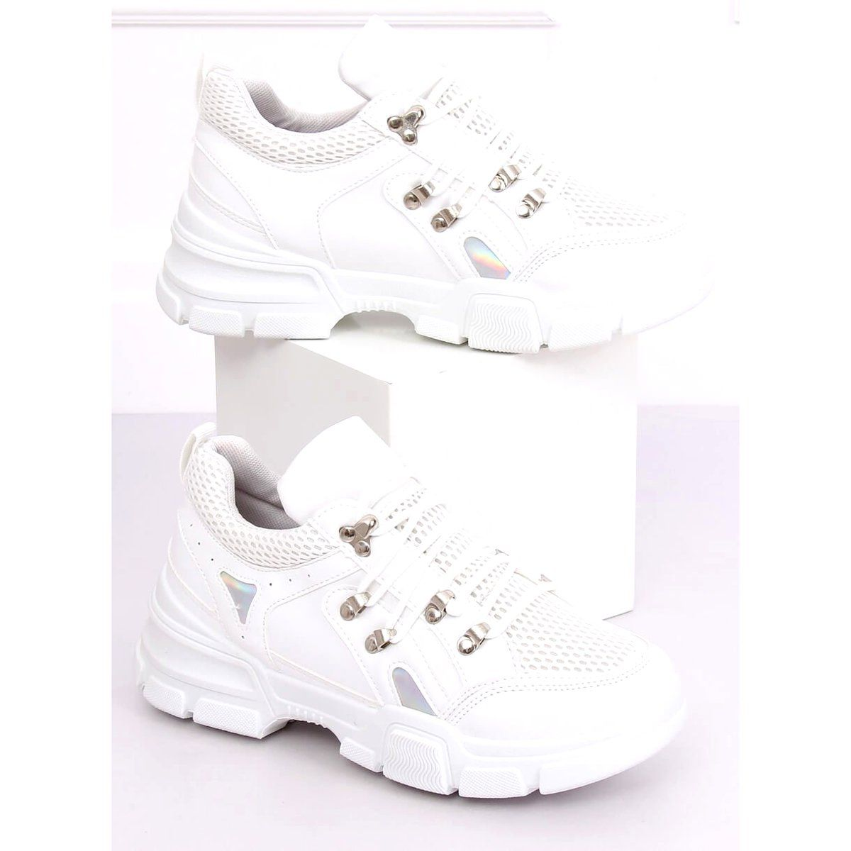 Buty Sportowe Biale Cb19080 White Sports Shoes Shoes Holographic Heels