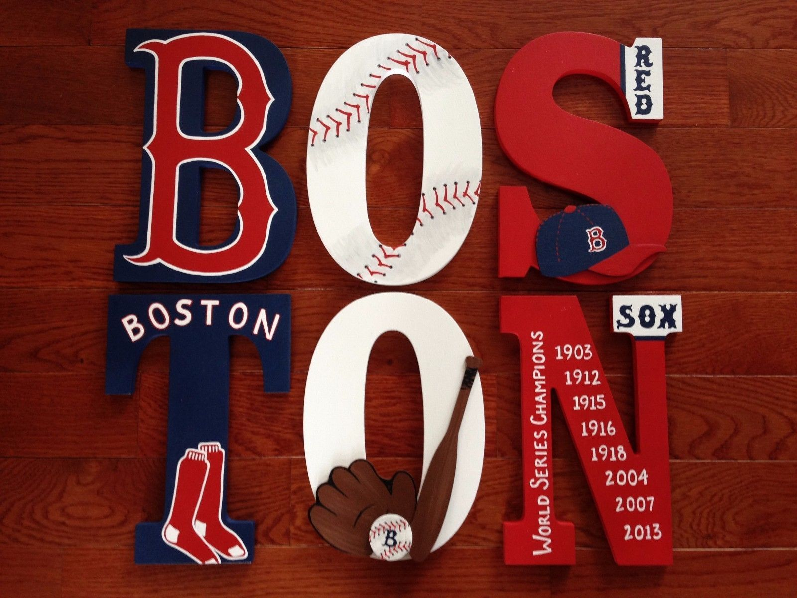 Custom Personalized Hand-Painted BOSTON RED SOX Wood Letters ...