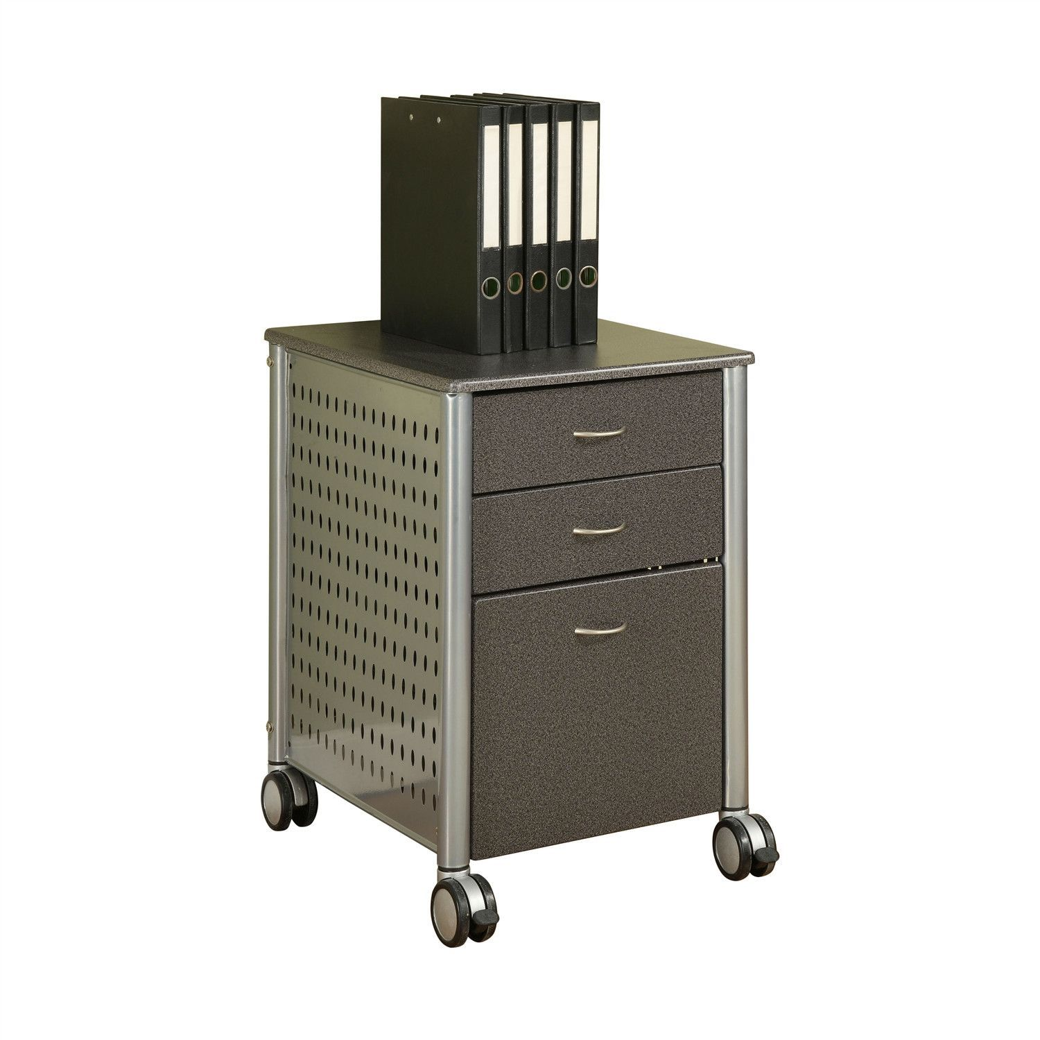 Mobile Filing Cabinet Printer Stand With 2 Office Storage Drawers ...