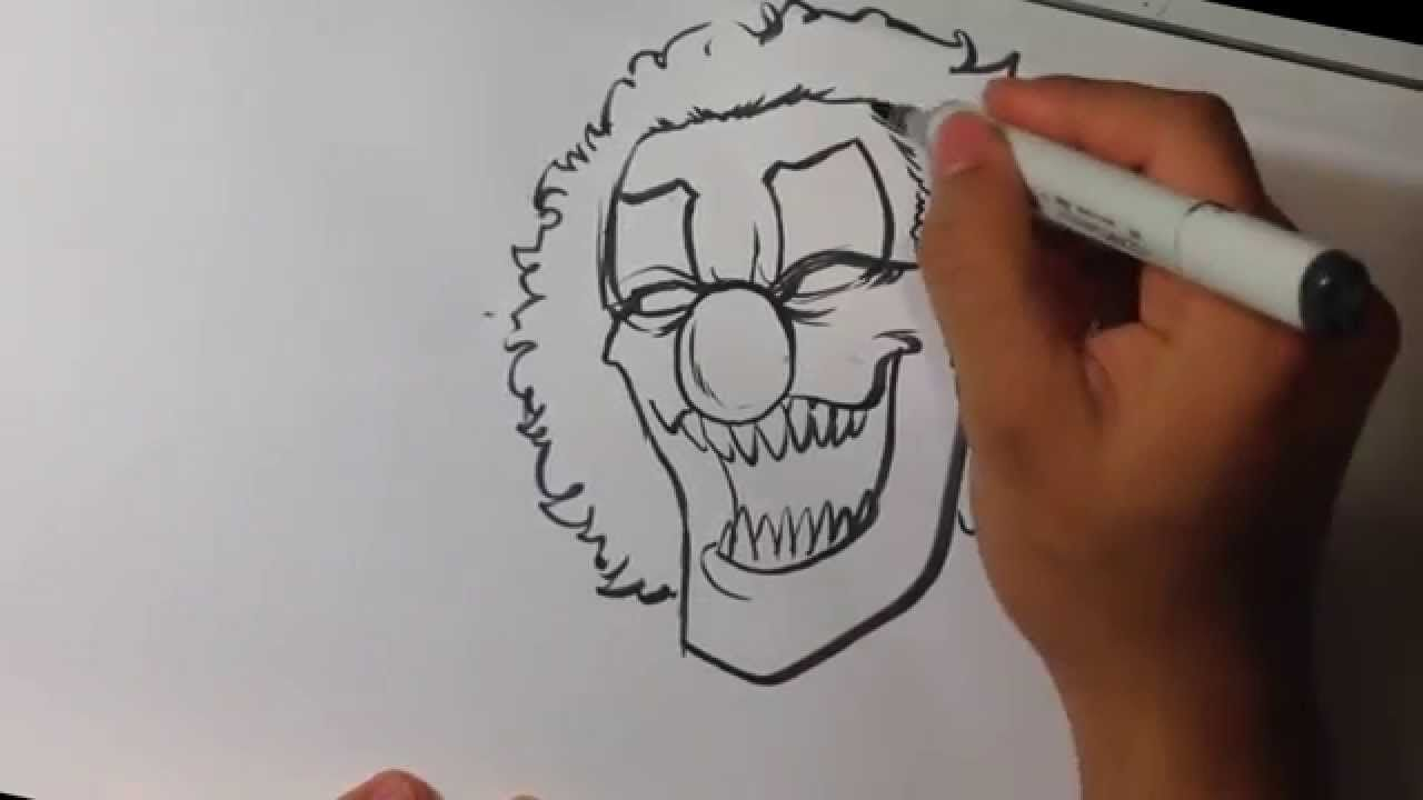 Drawing a Scary Clown - Halloween Drawings #drawart # ...