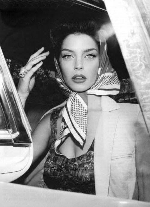 #silk scarf #head wrap #1950
