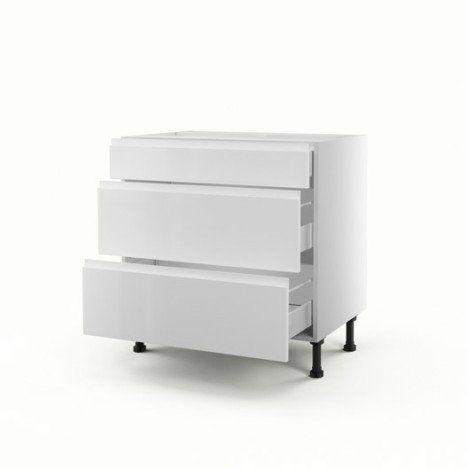 Meuble de cuisine bas blanc 3 tiroirs Graphic H70 x l80 x P56 cm