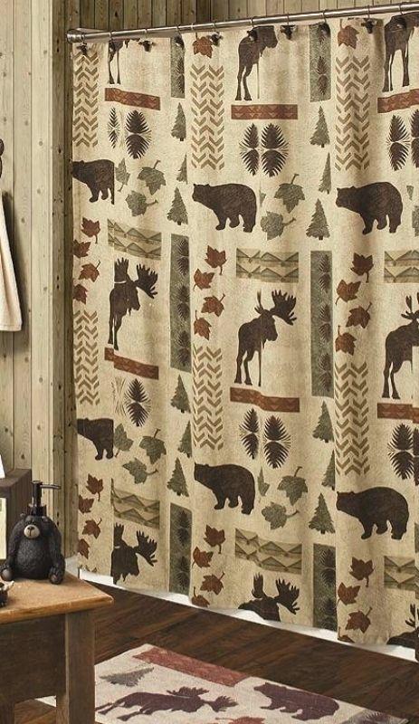 Big Country Moose And Bear 5 Piece Bath Set Cabin Decor Shower