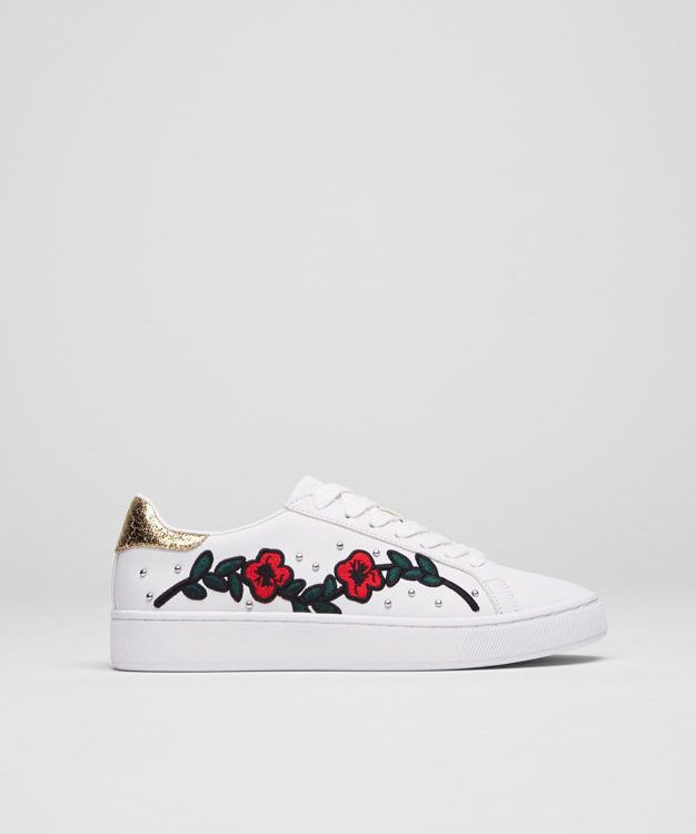 Pull&Bear - woman - new - embroidered fashion sneakers - white -