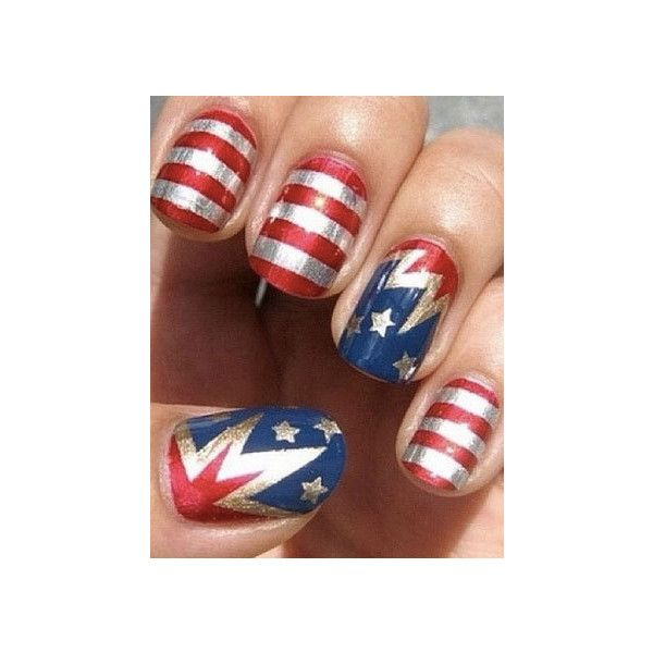 Patriotic Nail Art for Memorial Day 2013 ❤ liked on Polyvore ...