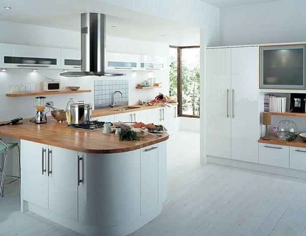 U küchen mit insel  küche einrichten weiß holzelemente | Home | Pinterest | Küche ...