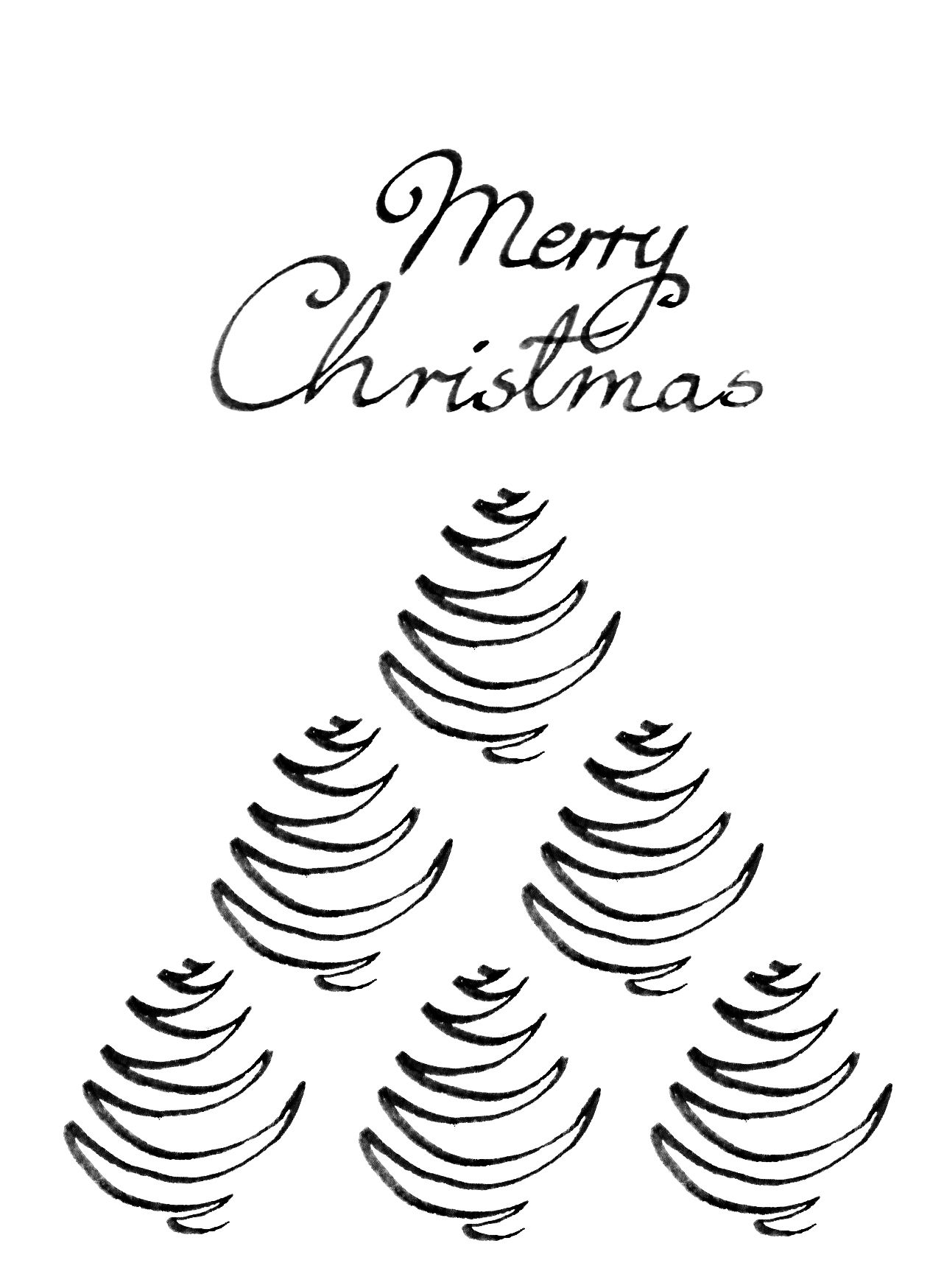 Minimalistic Black And White Christmas Card, Christmas Tree Line Drawing