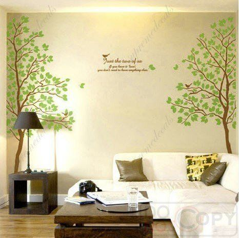 Twin Tree(73inch Tall)-- Vinyl Wall Art Decals Graphic for Home ...