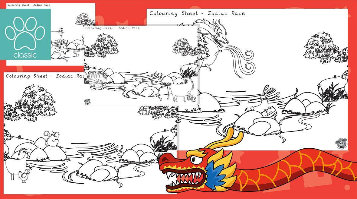 Chinese New Year Zodiac Story Colouring A set of 5