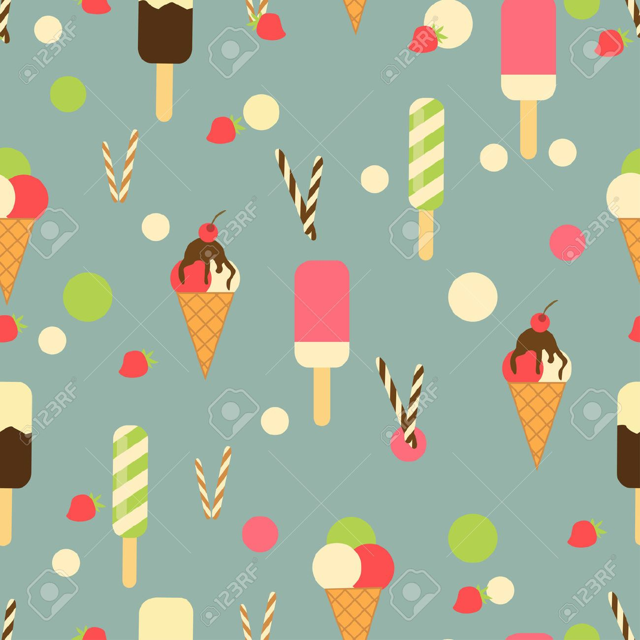 Ice Cream Wallpapers For Desktop: Seamless Texture Of Ice Cream Dessert In A Glass Lk Shake